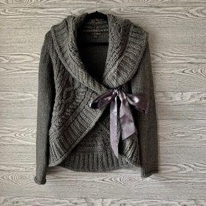 Twenty One Gray Knit Cardigan w/ Satin Side Tie